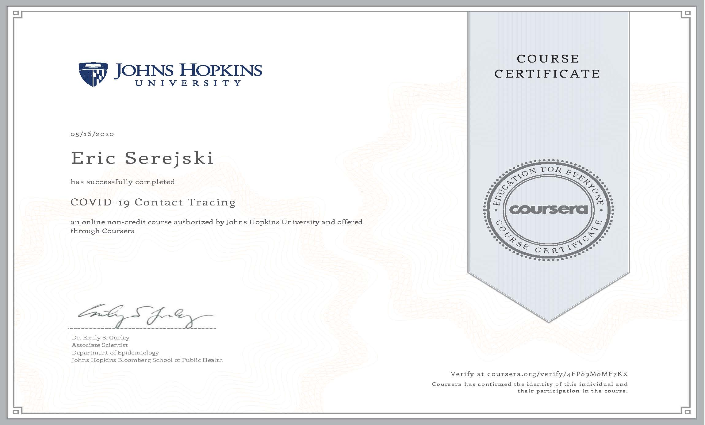 0516 COVID 19 Contact Tracing Certificate